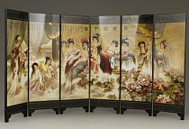 Exquisite Chinese Classical Lacquer Painting Folding Screen of Beauties is Bathing