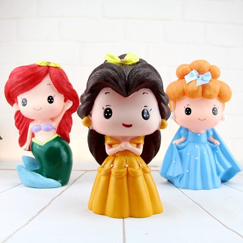 Cartoon Princess Piggy Bank Vinyl Money Safe Box for Kids Girls Toys Gifts Miniature Figurines Cute Room Decor