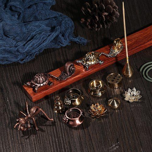 1PC Mini Cafe Ornament Buddhism Gadgets Ash Catcher Joss-stick Inserted Incense Holder Copper Censer Home Decoration