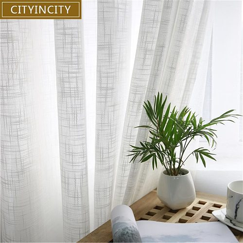 CITYINCITY Tulle  American Curtains for Living room Soft White Voile  solid Rural Tulle Curtain for bedroom ready made curtain
