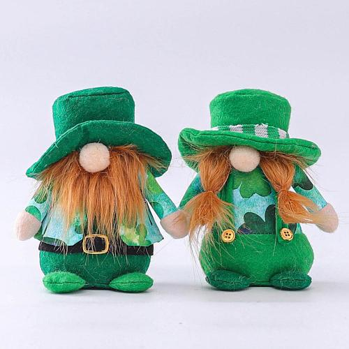 1pc Lovely Green Doll Ornaments Miniature Figurines Handmade Green Easter Faceless Doll Figurine Miniature easter decoration