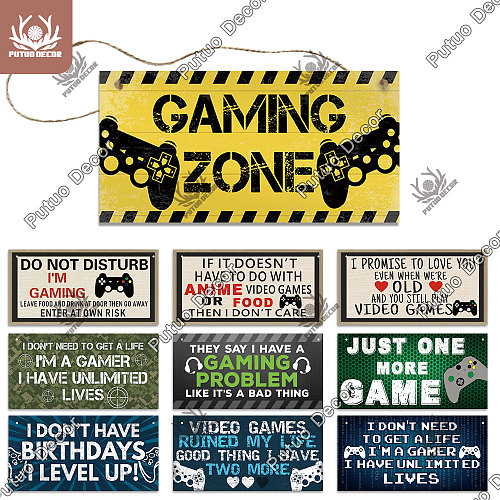 Putuo Decor Gamer Sign Wood Plaques Signs Wooden Wall Plaque for Man Cave Home DecorGame Room Door Hanging Decoration