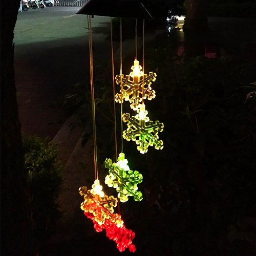 Outdoor LED Solar Powered Snowflake Wind Chime Light Home Garden Hanging Decor