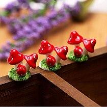 Red Mini Mushroom DIY Dollhouse Resin Crafts Fairy Garden Miniatures Garden Ornament Terrarium Figurines Decor  Decoration