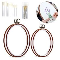 KAOBUY 34pcs Pack Oval Embroidery Hoop Imitated Wood Display Frame With Embroidery Needles For Art Craft Sewing
