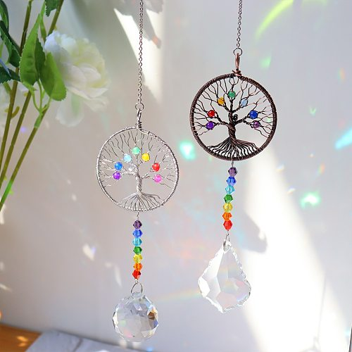 Crystal Wind Chime Pendant Colorful Life Tree Beads Hanging Drop Outdoor Indoor Garden Window Wedding Curtain Chandelier Decor