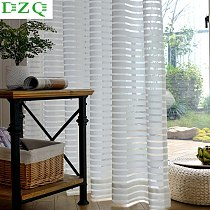 DZQ Simplicity Striped Tulle Curtains for Living Room Bedroom Kitchen Modern Window Voile Sheer Window White Tulle Curtains
