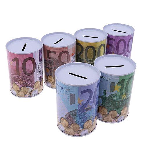 1PCs Creative Tinplate Cylinder Piggy Bank Euro Dollar Picture Box Household Saving Money Box Home Decoration Money Boxes