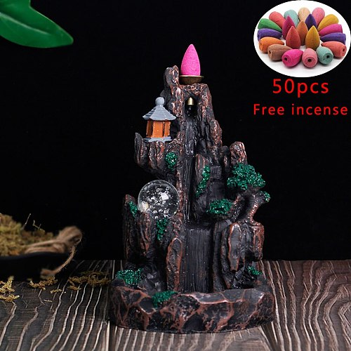 New Backflow Incense Burner LED Glowing Ball And 20Pcs Incense Cones High Mountain Waterfall Home Incense Holder Dropshipping