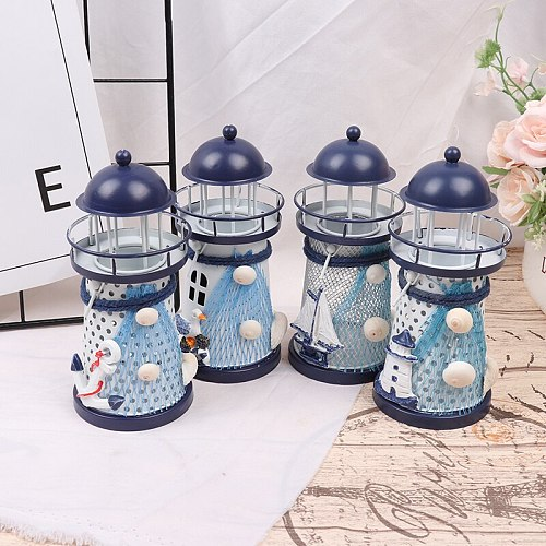 Mediterranean Tower Candle Holder Lighthouse Iron Candlestick Table Holiday Wedding Party Desktop Decor Metal Candle Holder New