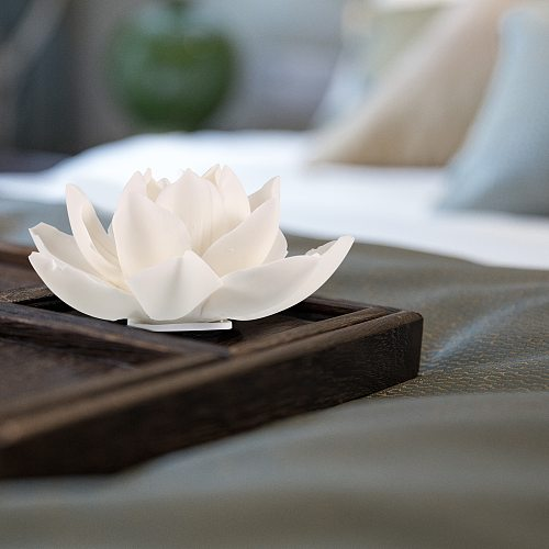 New Ceramic White Lotus Flower Incense Stick Holder Incense Burner Tea Ceremony Ornaments Home Decoration Use In Office Teahouse