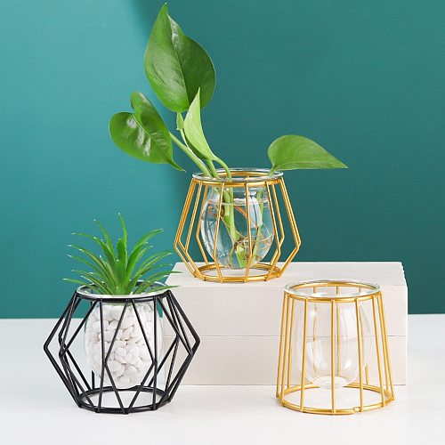 Terrarium Retro Iron Line Vase Hydroponic Plant Flower Vase Home Decoration Metal Plant Holder Nordic Styles Iron Vases Ornament