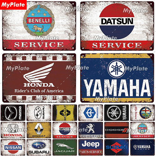 Car Brand Vintage Metal Sign Tin Sign Decorative Plaque for Garage Gas Station Living Room Home Motorcycle Wall Decor