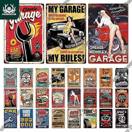 Garage Metal Sign Plaque Metal Vintage DAD'S GARAGE Retro Metal Tin Sign Garage Car Repair Man Cave Metal Wall Art Decor