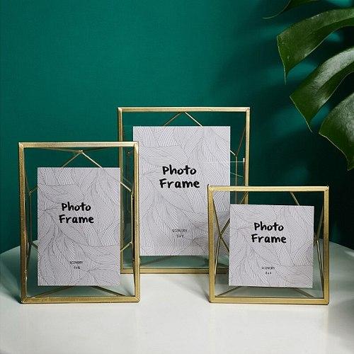 Nordic Metal Creative Geometric Plant Specimen Photo Frame Set Clip Dried Flower Plant European Modern Glass Photo Frame ornamen