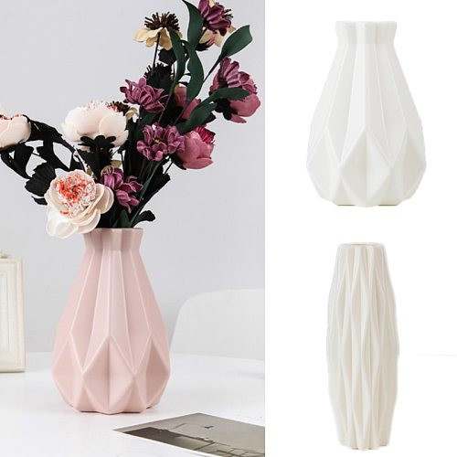 Flower Vase Decoration Home Plastic Vase White Imitation Ceramic Flower Pot Flower Basket Nordic Decoration  Vases for Flowers