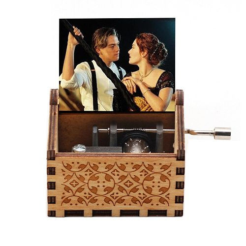 Antique Wooden Hand Cranked My Heart Will Go On Music Box Titanic Movie Theme Song Birthday Christmas Gift Decoration