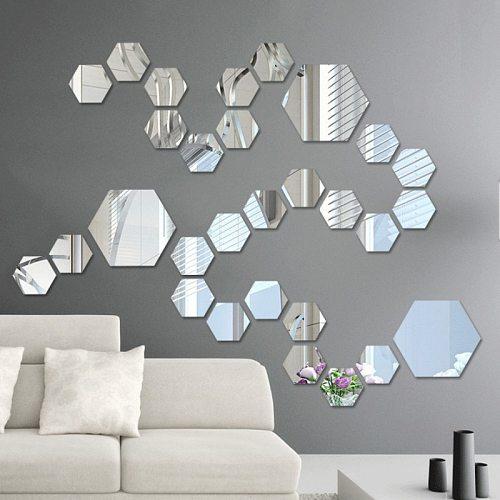3D Hexagon Acrylic Mirror Wall Stickers DIY Art Wall Decor Stickers Living Room Mirrored Sticker Gold Home Decor