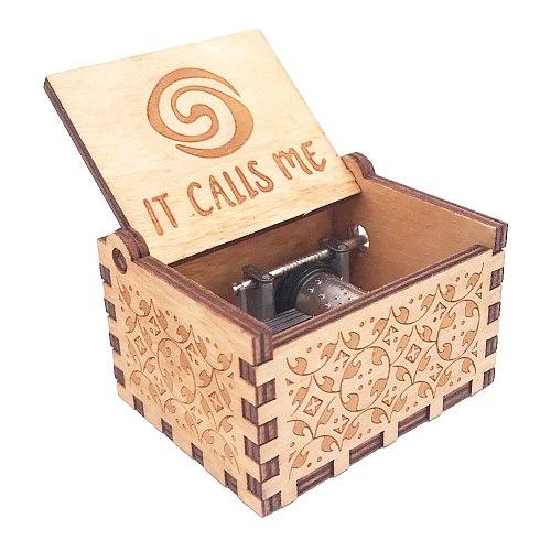 Moana Music Box Hand Crank Musical Box Carved Wooden Musical Box for Girl Christmas Music Gift ,Play Moana Theme How Far I'll Go