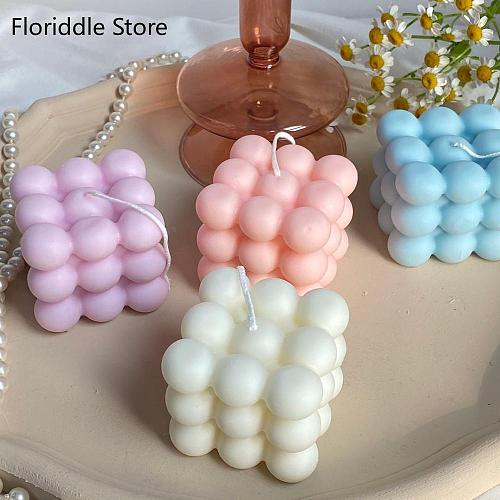 2Inch Bubble Cube Candle Cute Soy Wax Aromatherapy Small Candles scented  relaxing Birthday Gift 1PC