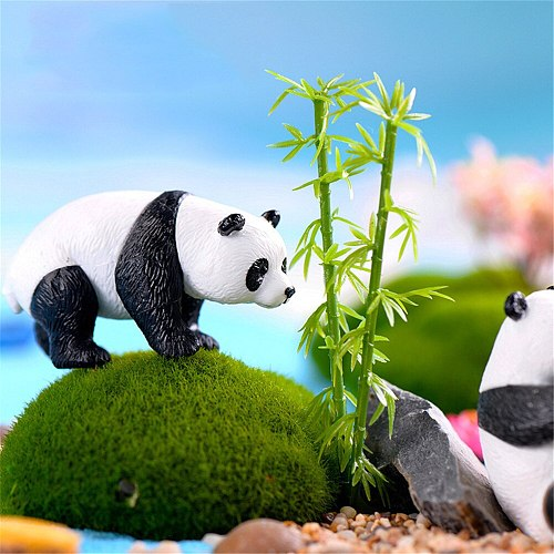 New 4pcs Kawaii Panda Moss Micro Landscape Resin Funny Panda Babies Ornament Fairy Garden Miniature Terrarium Figurine Decor