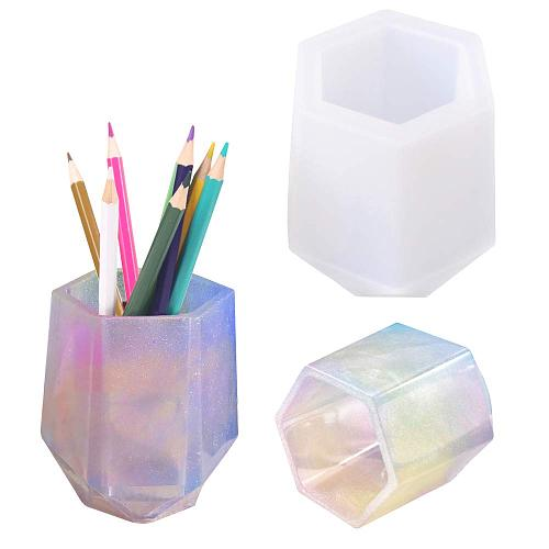 Diy Cup Silicone Mold Pen Holder Shape Epoxy Mold Hexagon Rround  Molds For Resin Coaster/flower Pot/pen Holder/candle Holder