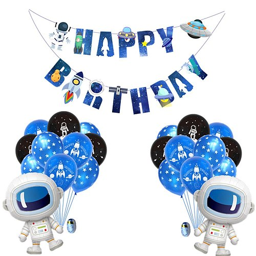 Space Astronaut Banners Baby Shower Banner Happy Birthday Decoration Wedding Accessories Anniversaire Flags Party Supplies