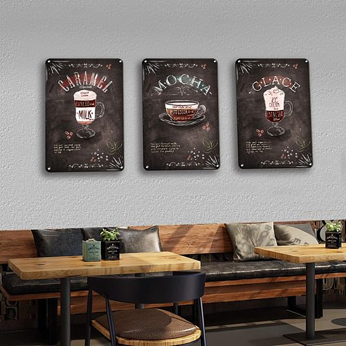Delicate Cooking Signs Metal Plate Wall Decor Restaurant Cafe Kitchen Art Wall Decoration Accessories Retro Coffee Metal Poster