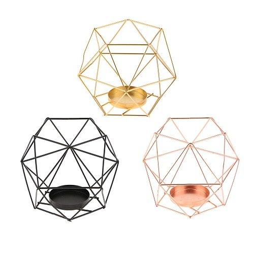 Iron Wire 3D Geometric Candle Tea Light Holder Home Decor Party Supplies for Wedding Christmas New Year Events