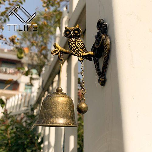 New Metal Iron Bell Wind Chime Retro Animal Doorbell Wall Hanging Decoration Horse Elephant Owl Shape Decoration Doorbell