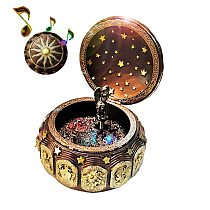 Vintage Constellation Pattern Music Box with Rotating Goddess LED lights Resin Carved Musical Box Melody Castle in the Sky