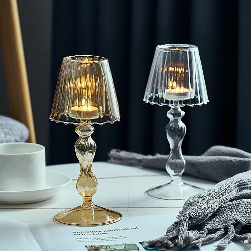 Glass Crystal Candle Holder Home Decoration Accessories For Living Room Elegant and Noble Candlestick Bedroom Wedding Decoration