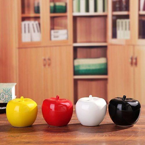 1PCS Ceramic Apple Figurines Fruit Model Miniatures Christmas Birthday Gifts Living Room Bedroom Decoration Crafts Home Decor