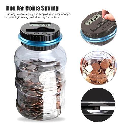 Home Decor Safe Deposit Box Electronic Digital LCD Counting Coin Money Saving Box Piggy Bank Coins Storage USD EURO Money Box