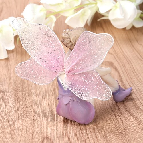 Beautiful Girl Creative Gifts Resin Angel Ornaments Home Decoration Miniature Flower Fairy Figurines Wedding Decoration(Sitting