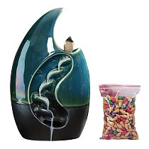 Backflow Incense Burner With 50 Cones Free Gift Waterfall Incense Burner Ceramic Incense Holder,Option For Mixed Incense Cones