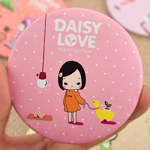Home Decor CUTE GIRL  Random color send  Makeup Mirror C262 English Sweet Cartoon Mirror