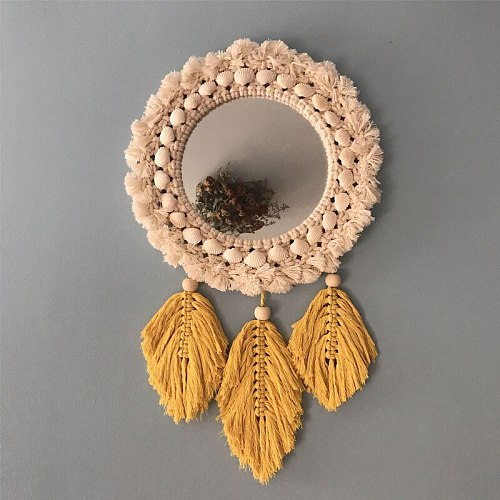 Nordic Macrame Feather Wall Mirrors Decor Mirror Creative Makeup Bath Room Feather Tapestry Mirror Wall Hanging of Bedroom