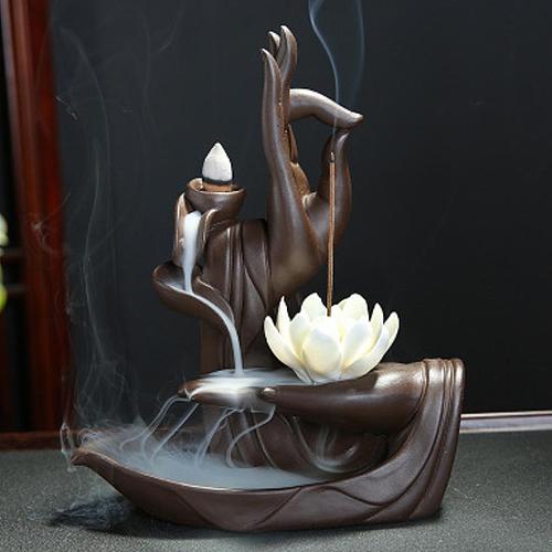 Zen Buddha Hand Incense Burners Backflow Incense Burner Holder Lotus Home Decor Joss Stick Aroma Tower Censer With20PCS Cones