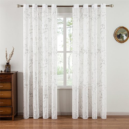 Topfinel Lily Curtains for Living Room Bedroom Tulle Modern Flowers Sheer Curtain Window Treatment White Voile Drapes Home Decor