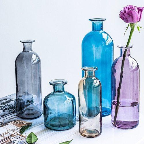 Classic Multicololr Glass Vases Flower Pot Basket Bottles Decoration Home Nordic Dried Transparent Hydroponic Small Bottles