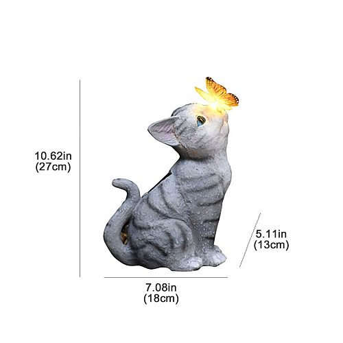 Personalized Garden Statue Balcony Decoration Cute Cat Butterfly Solar Furnishings Ornament Pendant Figurines Miniatures Crafts