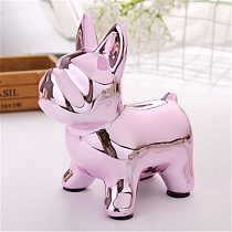 Pink French Bulldog European Ceramic Crafts Bulldog Piggy Bank Home Decor Cute Piggy Bank Ornaments Creative Bulldog Money Box
