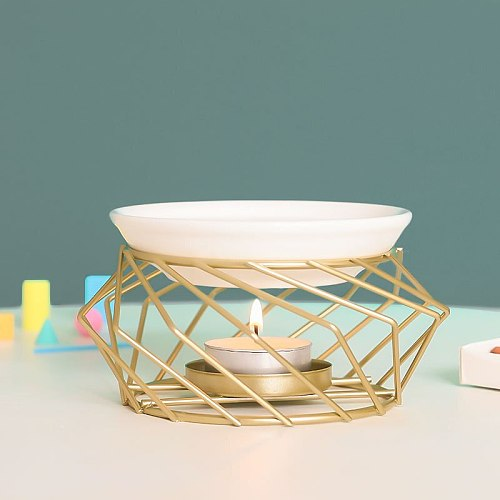 Creative New Products Can Be Customized Golden Wrought Iron Aroma Diffuser Essential Oil Lamp Candle Lamp Burner Aroma Diffuser
