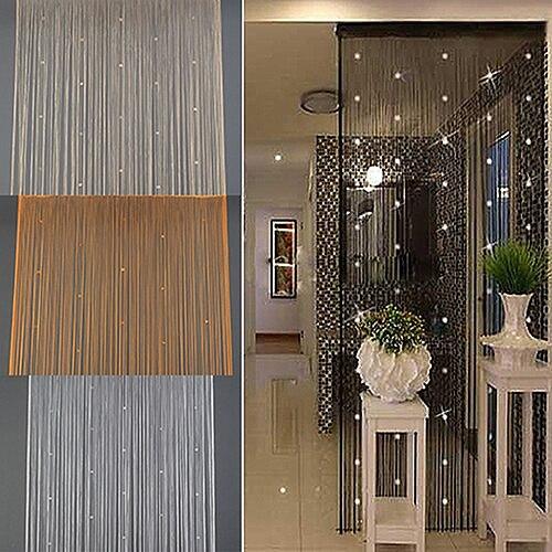 Beaded String Curtain Translucent Door Bead Curtains Room Divider Valances Tassel Black Curtains Window Wall Home Decoration