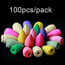100Pcs Natural Tower Incense Cones Sandalwood Air Purifying Backflow Incense Air Freshener Home Bedroom Toilet Decor Home Supply