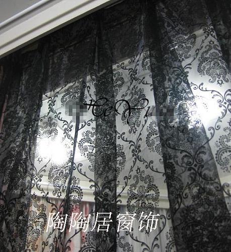 Flower fashion window screening organza fabic flocked light curtain for living room