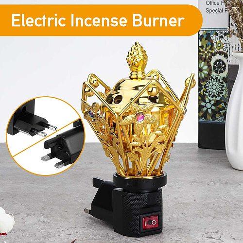 220V-240V Two/Three Plug Portable Electric Burner Incense Metal Pearl Incense Electric Incense Burner Home Decoration