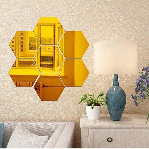 1 Piece/Set DIY 3D Mirror Wall Sticker Hexagon Home Decor Mirror Decor Stickers Art Wall Decoration Stickers Multi-color