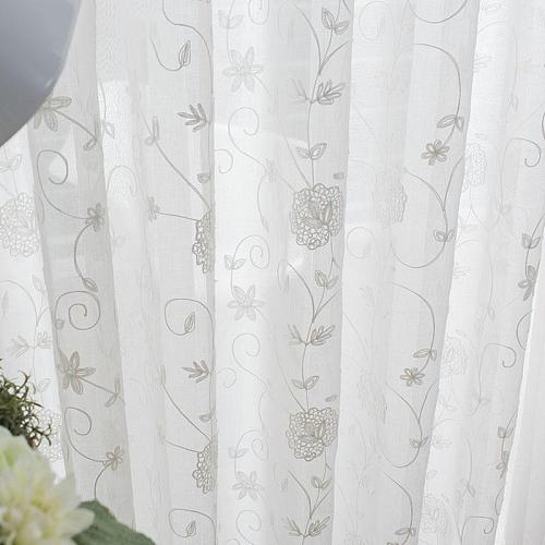 JUNBIE White Tulle Curtains  for Living Room Bedroom Modern Flowers Embroidered Voile Sheer Curtains for Kitchen Door Drapes